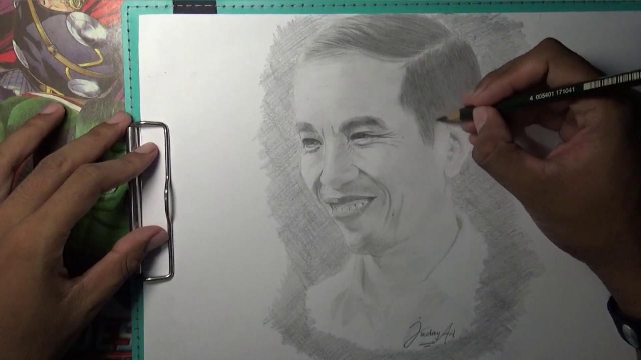 Belajar sketsa wajah Presiden Indoesia Jokowi