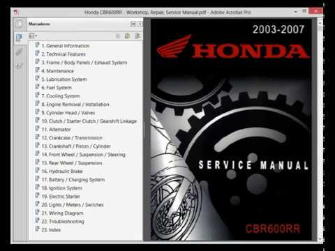 Honda Cbr600rr Cbr 600 Rr Service Manual Wiring Diagram Youtube