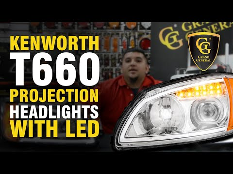 Grand General 89430 Series Kenworth T660 Projection Headlights with LED Daytime Running Lights