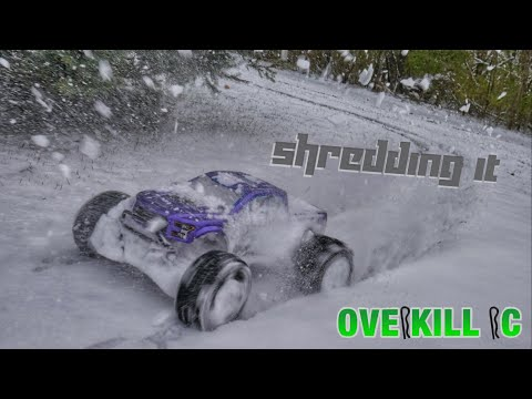 4s LiPo Stampede 4x4 Shredding Through the Fresh Snow | P-L Sand Paws | Edit | Overkill RC