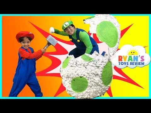 YOSHI GIANT EGG SURPRISE TOYS FOR KIDS Mario and Luigi Irl Nintendo Toys Unboxing Ryan ToysReview