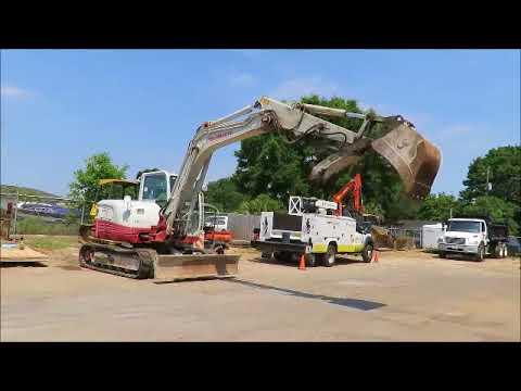 Sold! Takeuchi TB285 Mini Excavator Rubber Tracks Cab Backhoe bidadoo com