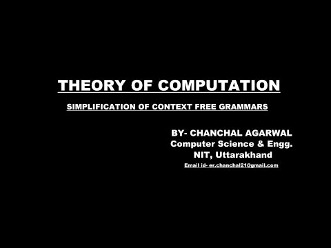 SIMPLIFICATION of CONTEXT FREE GRAMMARS || THEORY OF COMPUTATION