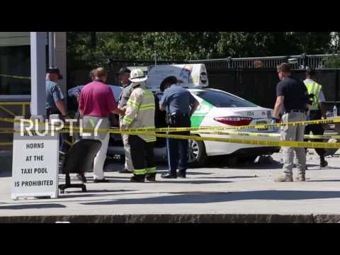 USA: Taxi towed after cab driver hits pedestrians at Boston airport, injuring ten