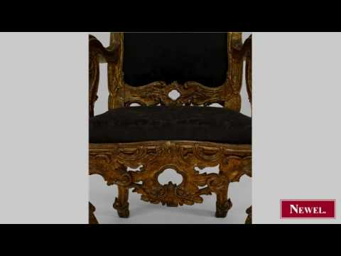 Antique Antique Italian Rococo high back gilt carved throne
