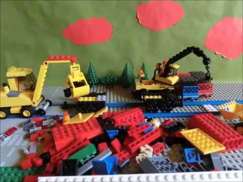 lego city 7938 waggon rot blaue schienen bagger 7936. Black Bedroom Furniture Sets. Home Design Ideas