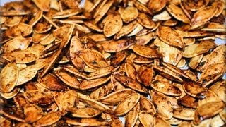 Easy recipe making video about Spiced Pumpkin Seeds