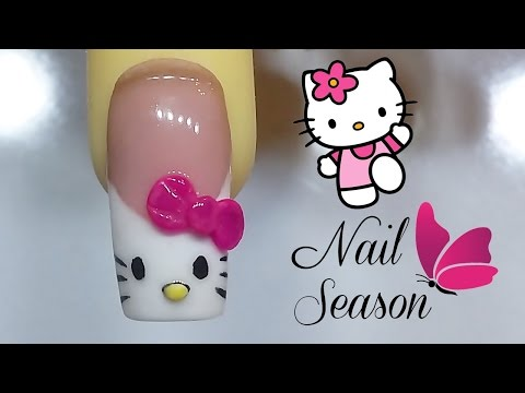 French nails hello kitty tutorial sculpted acrylic nail art 2016