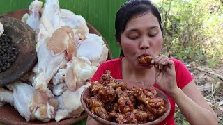 Cooked chicken recipe in clay for Food - Cook chicken & Eat delicious # 92