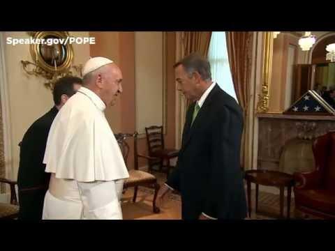 Speaker Boehner greets Pope Francis