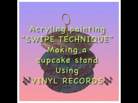 DIY desert tier using vinyl records and resin