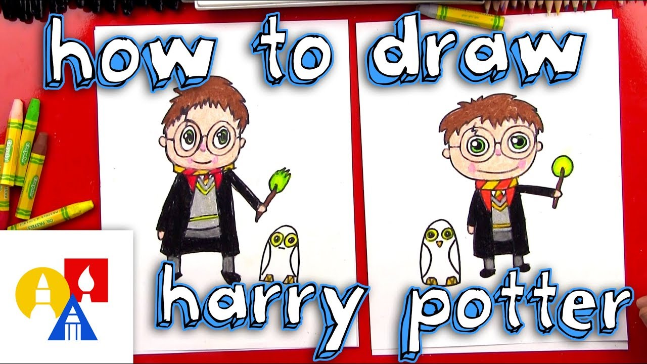 Art For Kids How To Draw A Cartoon Harry Potter And Hedwig Youtube