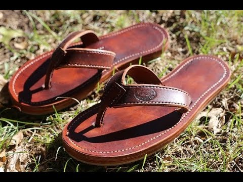 4a785e3630c8 How I make a pair of leather flip flops - YouTube