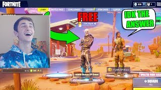 He Wins The Skull Trooper If He Can Answer My Question.. (Fortnite)
