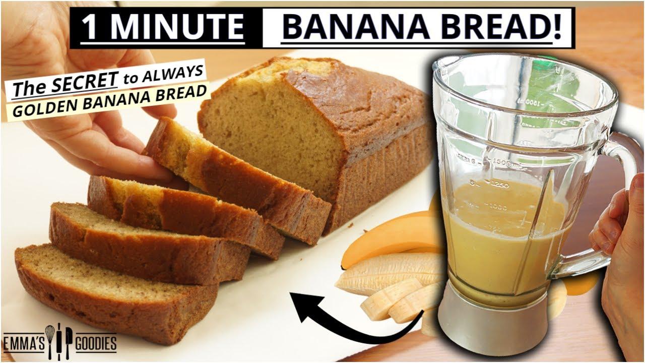 Download 1 Minute Blender BANANA BREAD RECIPE ! The EASIEST Banana Bread Recipe 🍌