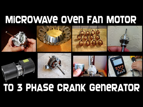 Microwave Oven Fan Motor To Crank Generator!
