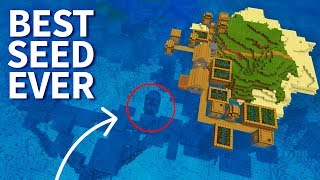Minecraft 1.5: BEST SEED EVER! Island with Village, Stronghold & Shipwreck! MCPE 1.5 / 1.4 Update