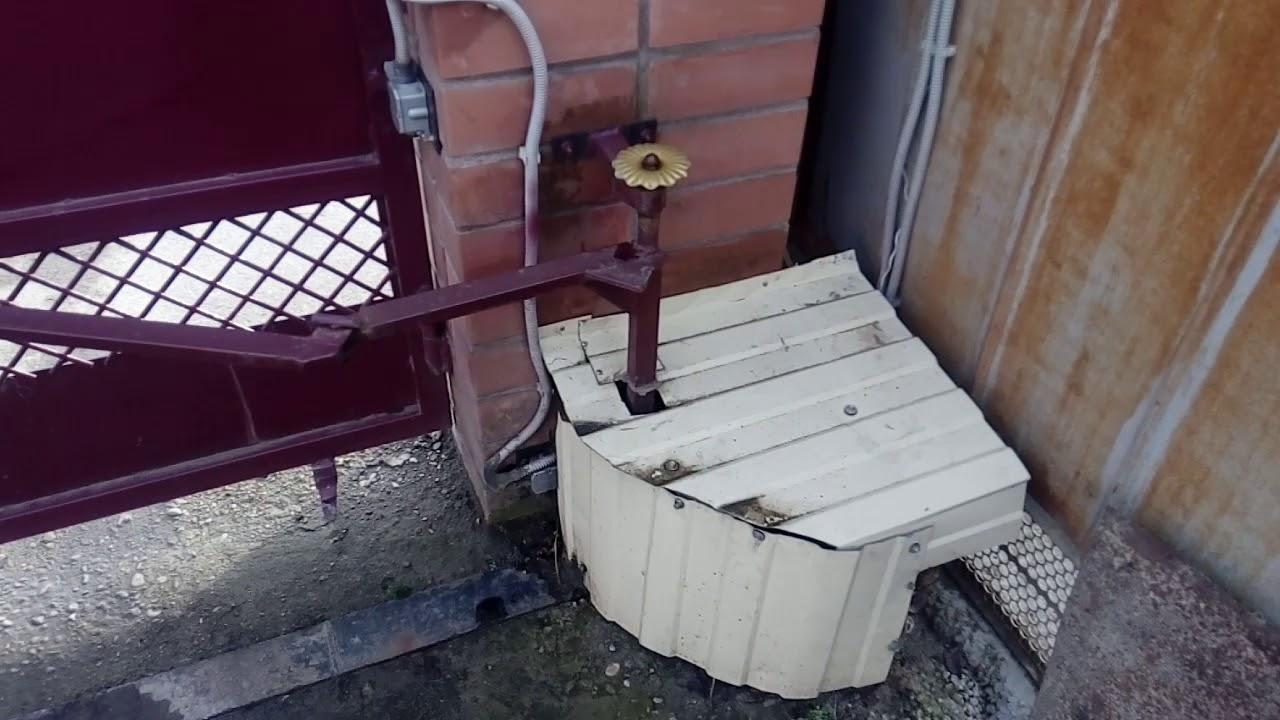 Привод распашных ворот с одним редуктором.Особая разработка.Быстрое открывание.Рационализатор.