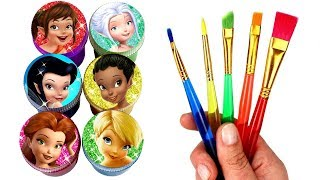 Disney Fairies Drawing & Painting with Surprise Toys Tinkerbell Silvermist Periwinkle Fawn Vidia