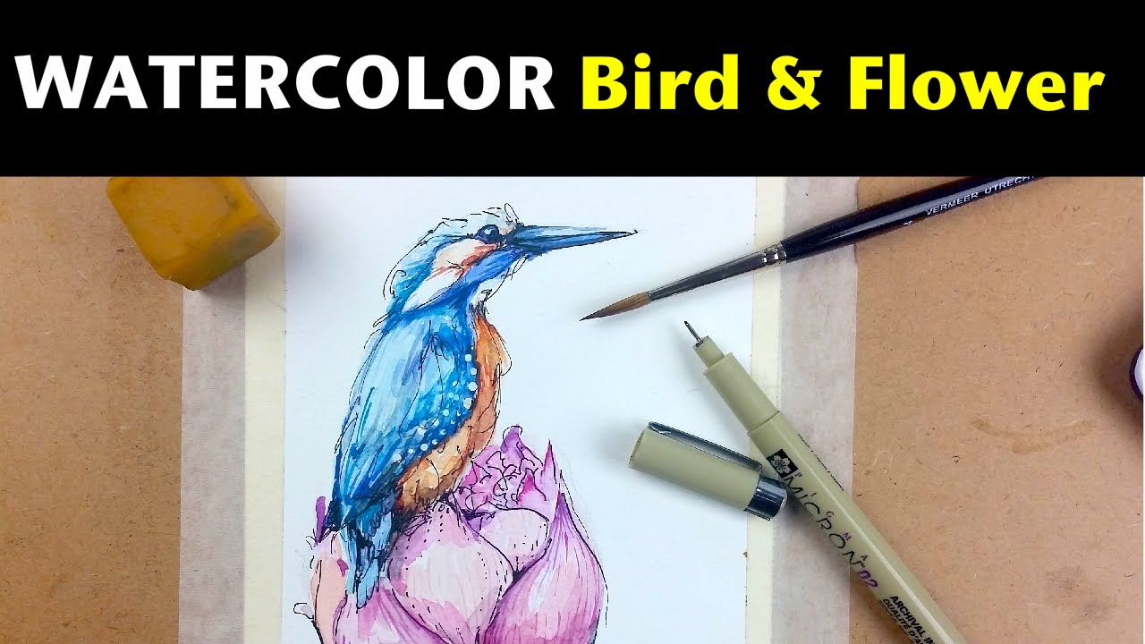 Watercolor Ink Tutorials How To Draw Paint A Bird Flower