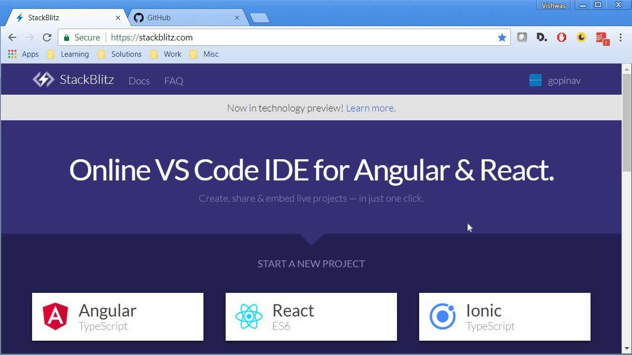 Stackblitz - Angular and React Online IDE