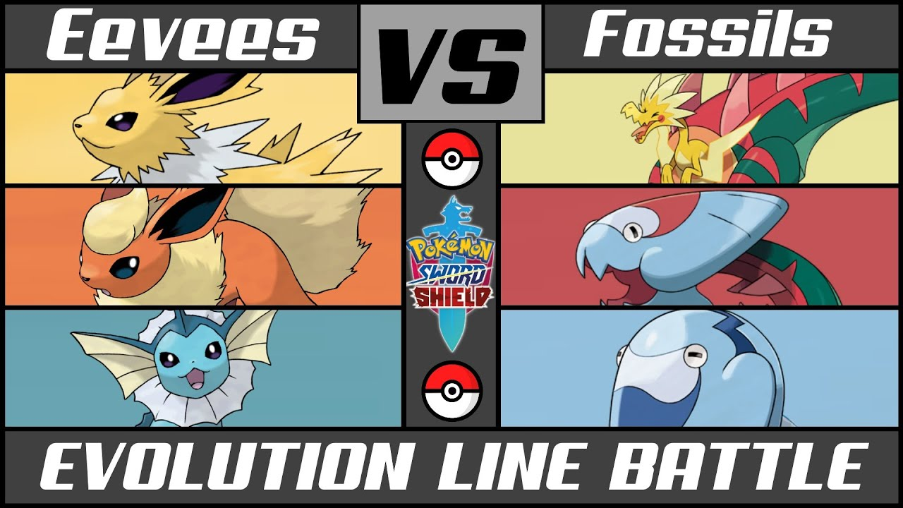 EEVEELUTIONS vs FOSSILS - Evolution Line Battle (Pokémon Sword/Shield)