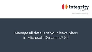 Manage all details of your leave plans in Microsoft Dynamics GP