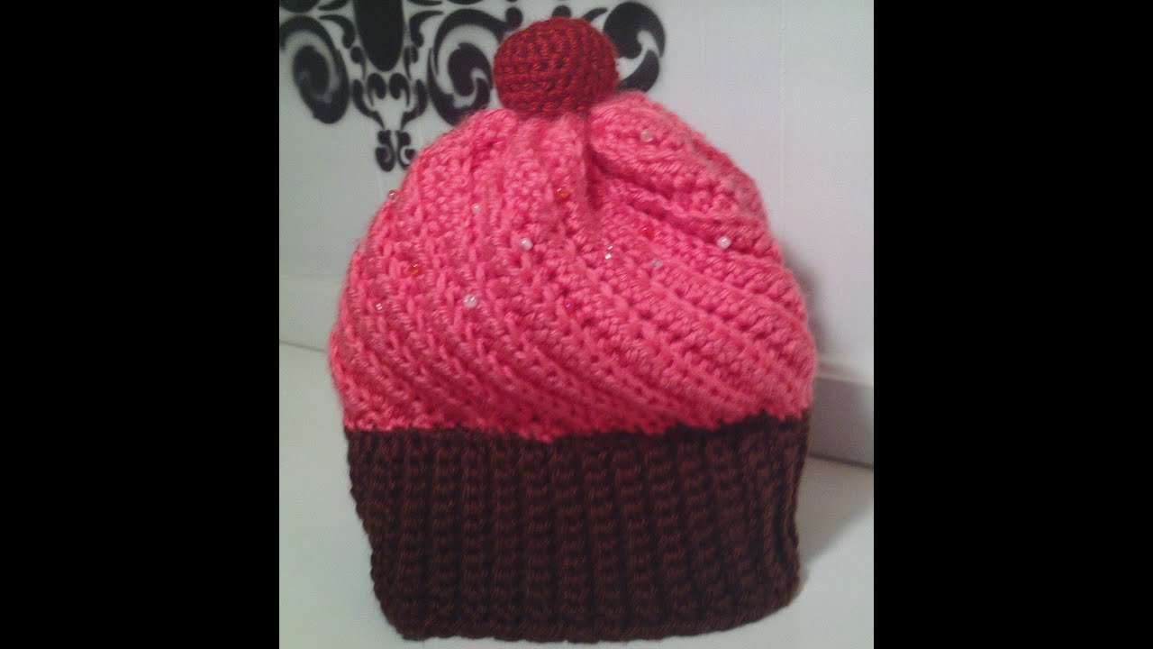 Crocheting A Hat : How to make a crochet cupcake hat - YouTube