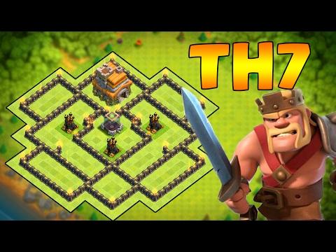 TH7 No Barb King Base  BEST TH7 NO KING HYBRID/WAR/FARMING BASE DESIGN 2017