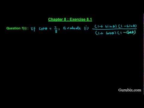 Ex 8.1 : Q.7(i) : If cot θ = 7/8, evaluate... Ch 8 | Math for Class X CBSE