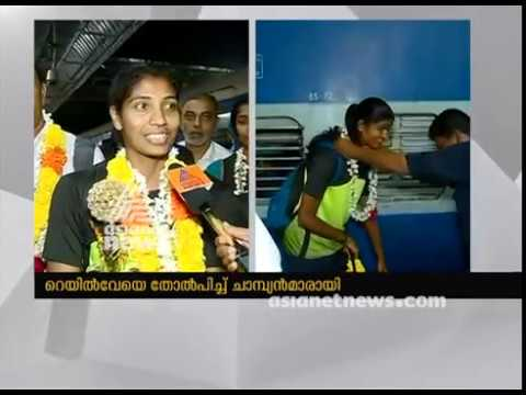 Kerala women volleyball team gets warm welcome at Kozhikode Railway Station