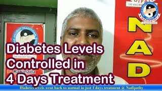 Diabetes levels went back to normal in just 4 days treatment @ Nadipathy
