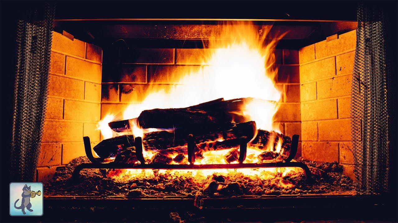 4K RELAXING FIREPLACE & CRACKLING FIRE SOUNDS ~ NO MUSIC ~ 4K ULTRA HD  BURNING FIREPLACE