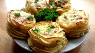 КРАСИВЫЕ картофельные гнезда с грибами и луком из пюре: рецепт в духовке