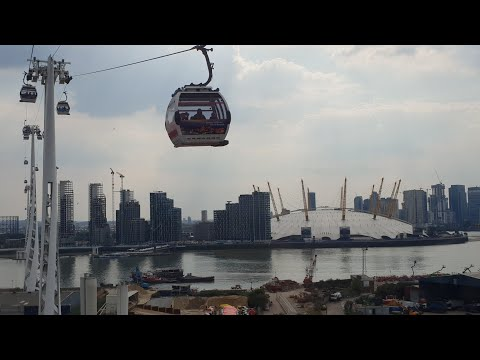 Emirates Airline Cable car London Over the Thames from Green
