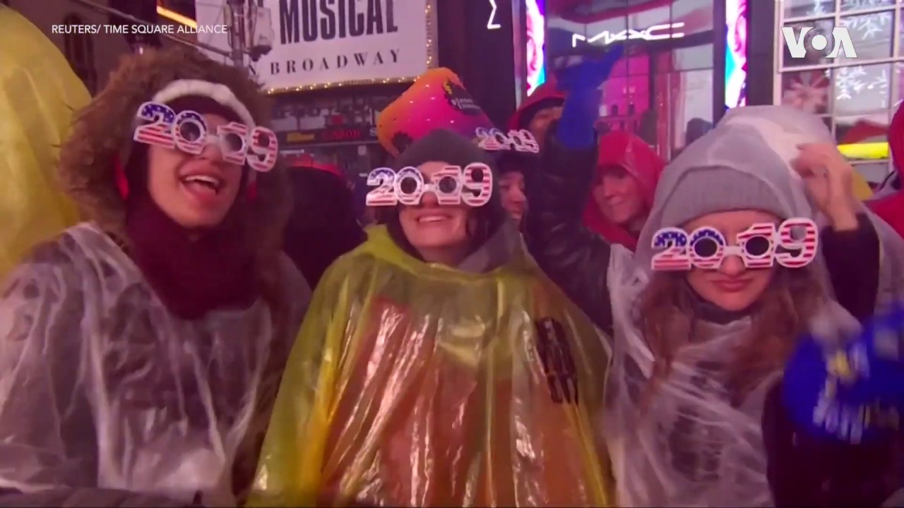 Celebrating New Year at New York City's Times Square