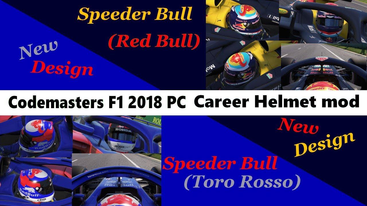 F1 2018 Career Helmet mod : New design, Speeder Bull (Red Bull & Toro Rosso)