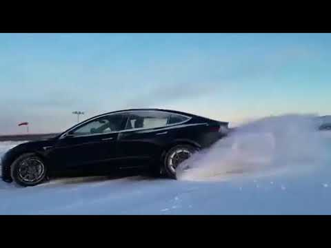 Tesla Model 3 Snow Drift