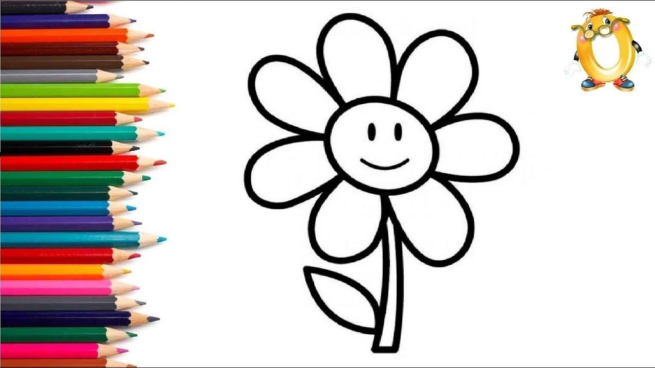 Раскраска для детей УЛЫБЧИВЫЙ ЦВЕТОЧЕК. Мультик - Раскраска. Учим цвета