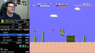 (1:22:36) Zelda 2 - 100% All Keys speedrun