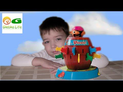 Pop up Pirate.  Детская настольная игра Пират в Бочке.