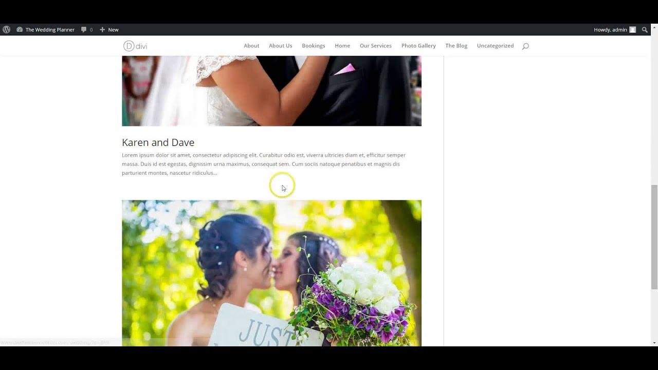 Free Divi Child Theme - The Wedding Planner installation - YouTube
