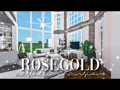 I Spent 24 Hours In Someones House Roblox Bloxburg Youtube - Bloxburg Rose Gold Aesthetic Mansion Build Battle W Alixia