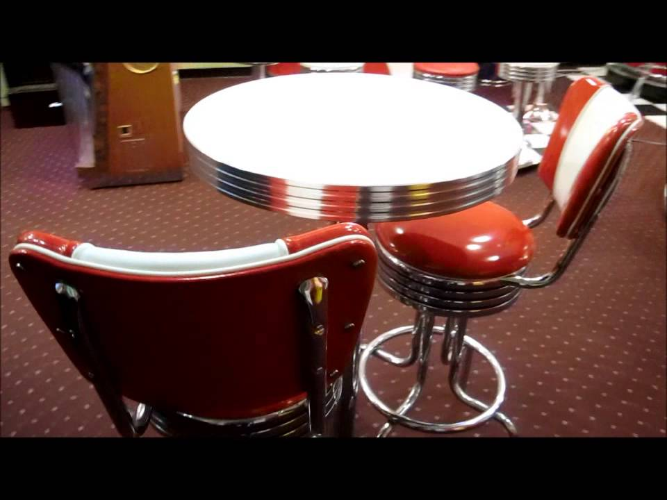 Retro Pub Table And Bar Stools With Back   YouTube