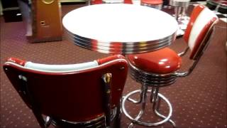 Retro Pub Table And Bar Stools With Back