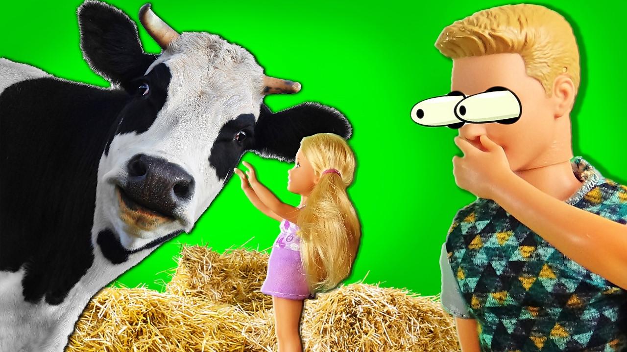 Мультфильмы Барби и Кен сюрприз корова и Челси. История в ...