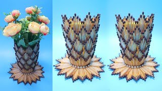 VAS BUNGA Dari KOREK API KAYU   Ide kreatif Korek kayu ! Vase with Matchsticks   Flower Vase DIY