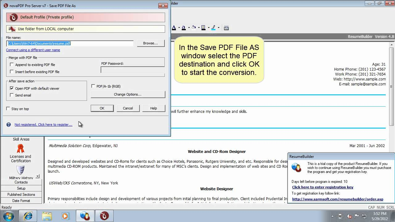 convert resume builder to pdf