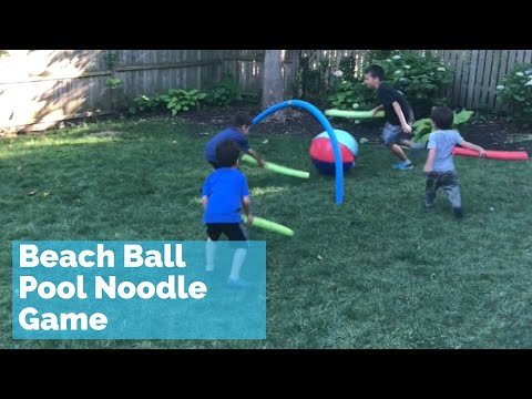 Beach Ball Pool Noodle Game - Fun Outdoor Summer Hockey Kids Game Activity