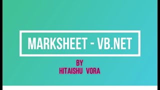 MARKSHEET IN VB.NET BCA-403